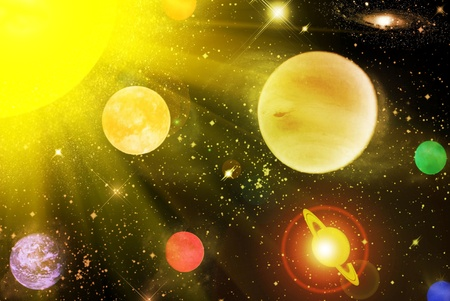 astrophysics: The planets in the star sky Stock Photo