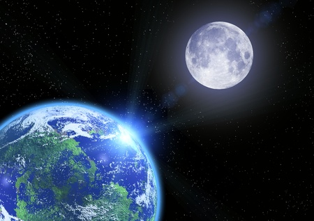 moon and  earth photo