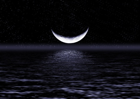 Half of moon reflected in water Stock Photo - 9089426