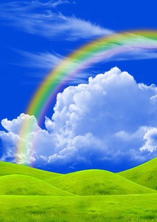cloudy: Green field and rainbow