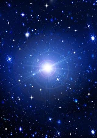 Bright  stars in the night dark blue sky