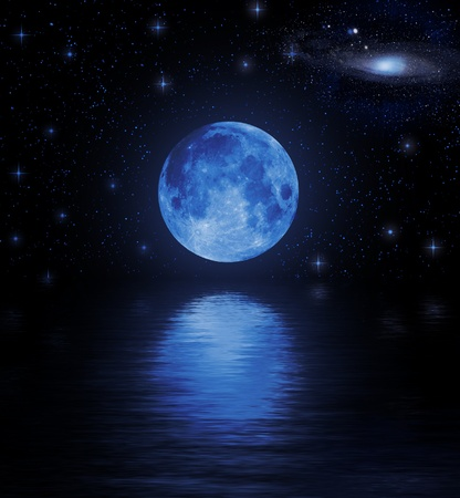 Full moon reflected in water Stock Photo - 9212967