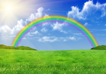 rainbow scene: Rainbow over a green glade