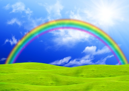 Rainbow over a green glade photo