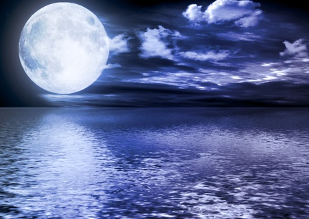 moon stars: Full moon reflected in water