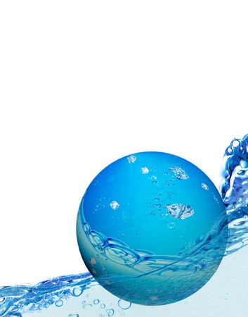 Water bubble floating on water photo