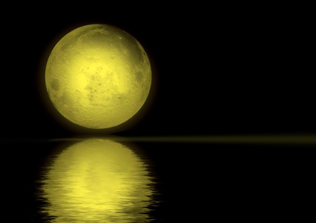 Full moon reflected in water Stock Photo - 9459313