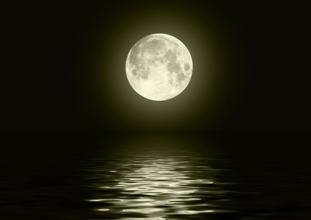 full moon: Full moon image with water