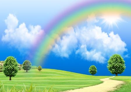 虹は緑の空き地