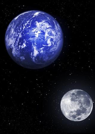 La Tierra, la Luna, las estrellas Foto de archivo - 9728042