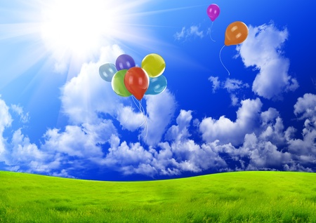 Color balloons in the dark blue sky photo