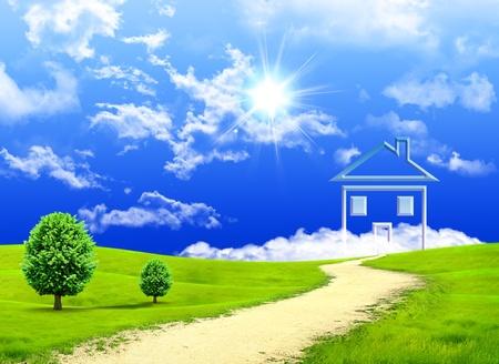 Nueva imaginación de la casa en una pradera verde