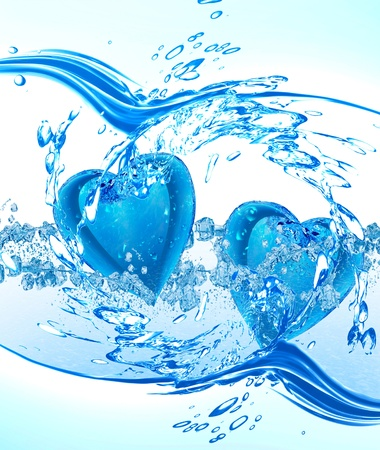 clean heart: Two hearts from water Stock Photo