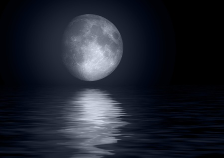 Full moon reflected in water photo