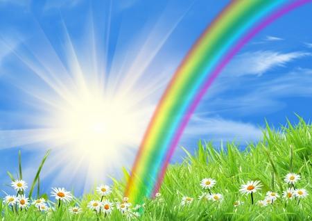 rainbow clouds: Rainbow in the blue sky Stock Photo