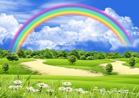 Rainbow in the blue sky Фото со стока