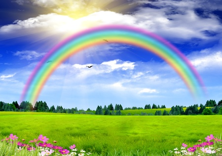 country landscape: Rainbow in the blue sky Stock Photo