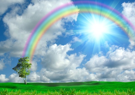 rainbow scene: Rainbow in the blue sky Stock Photo