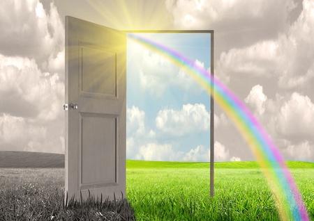 Sun rays and open door Фото со стока