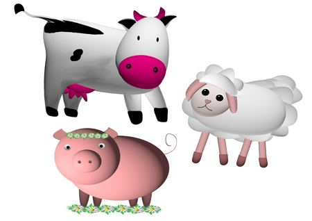 cow,sheep and pig Stock Photo - 14038042