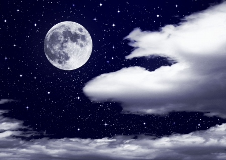 full moon in clouds Stock Photo