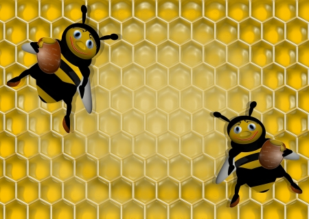 buzz: background with honey and bees