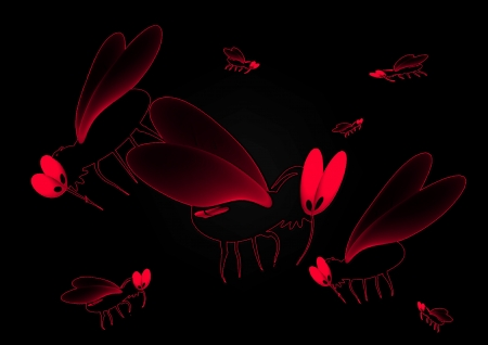 thirsty: Blood thirsty mosquitoes on a black background Stock Photo
