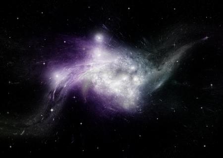natural phenomenon: Stars, dust and gas nebula in a far galaxy. Stock Photo