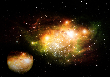Stars, dust and gas nebula in a far galaxy. Stock Photo