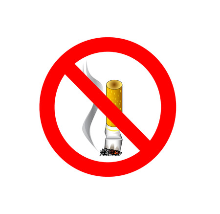detrimental: No smoking sign isolated on white background Stock Photo