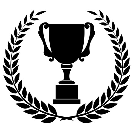 Black silhouette of champions cup, award design