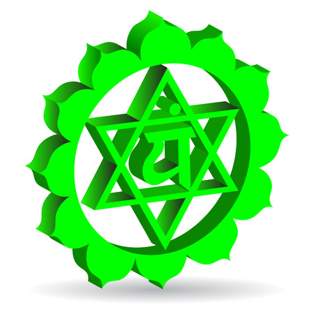 3D illustration of Anahata chakra, vector Vector