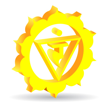 manipura: 3D illustration of  Manipura chakra, vector