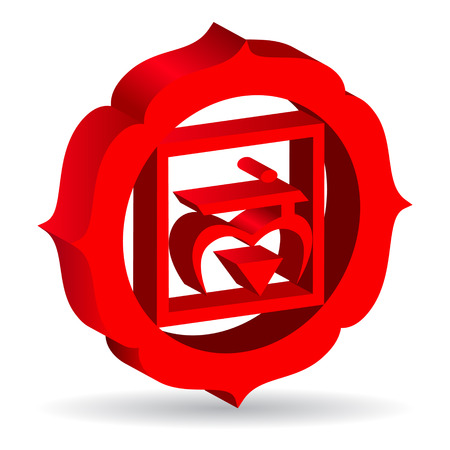 muladhara: 3D illustration of Muladhara chakra, vector