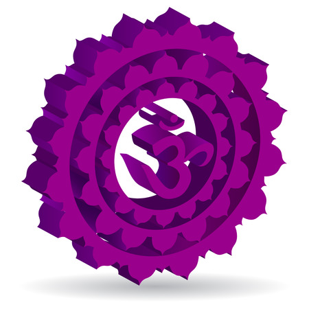 3D illustration of Sahasrara chakra, vector Vector