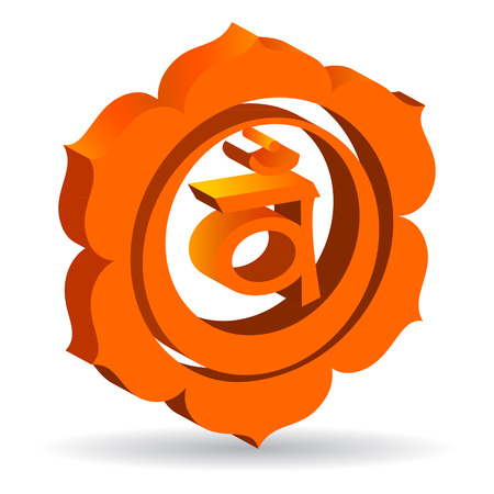 sexual chakra: 3D illustration of Swadhisthana chakra, vector Illustration