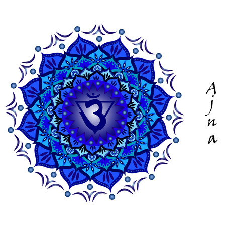 third eye: Lotus flower of Ajna chakra Illustration