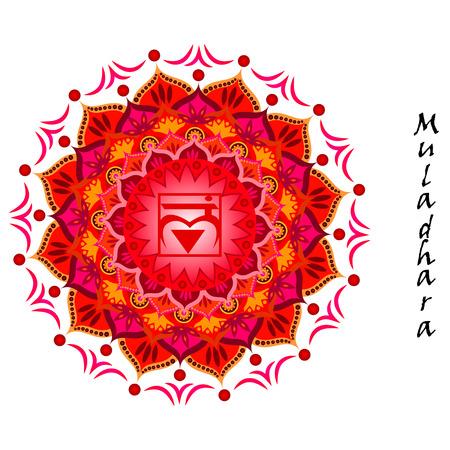 Lotusbloem van Muladhara chakra Stock Illustratie