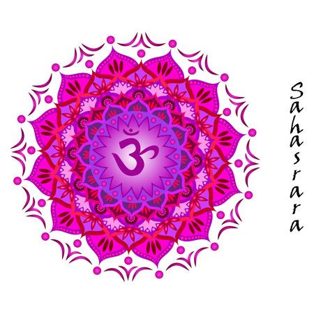 Lotus flower of Sahasrara chakra Illustration