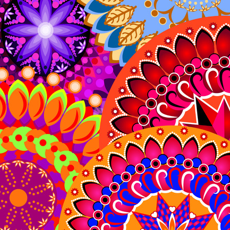 Pattern with colorful mandalas