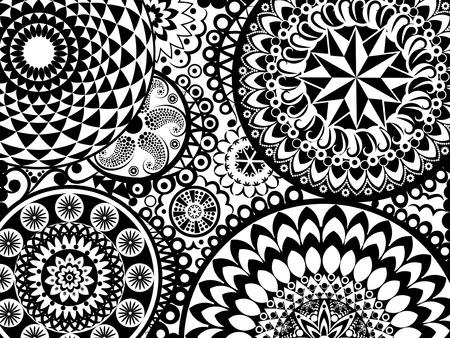 Pattern with balck and white mandalas Illustration