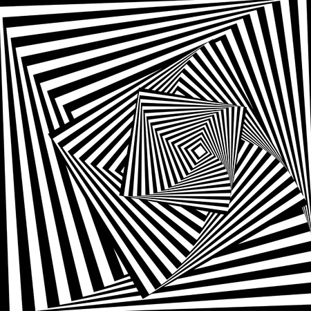 warped: Abstract black and white background with optical illusion effect. Vector art.