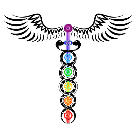 Caduceus, 7 Chakras, Kundalini Energy Stock Illustratie