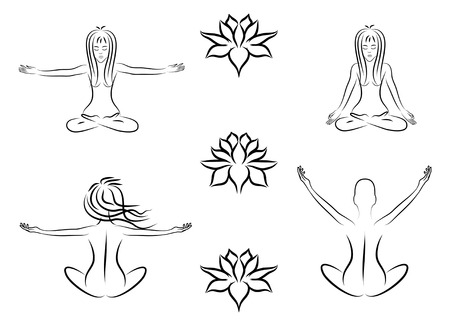 Set of silhouettes of meditating women, vector Vector
