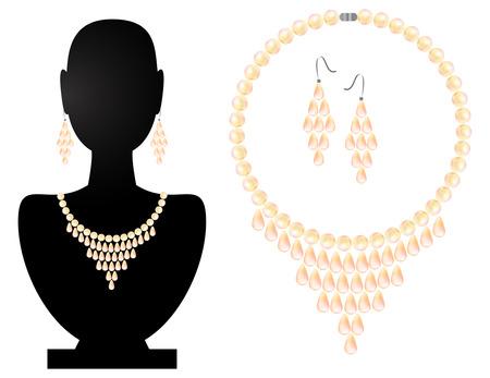 viso: Collar y pendientes de perlas