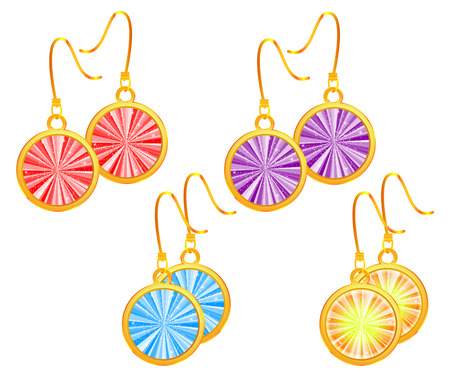 earrings: Set of golden earrings Illustration