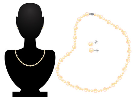 Necklace and earrings from pearls Vector