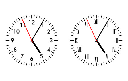 Illustration of classic and antique clock faces