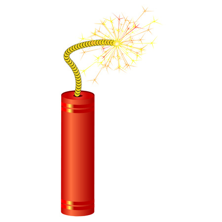 fire cracker: Single red dynamite with burning wick, isolated