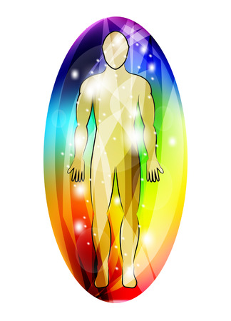 energy healing: Human aura, vector Illustration